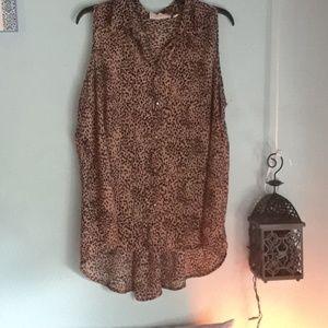 Leopard print button up shirt. Size 2X.